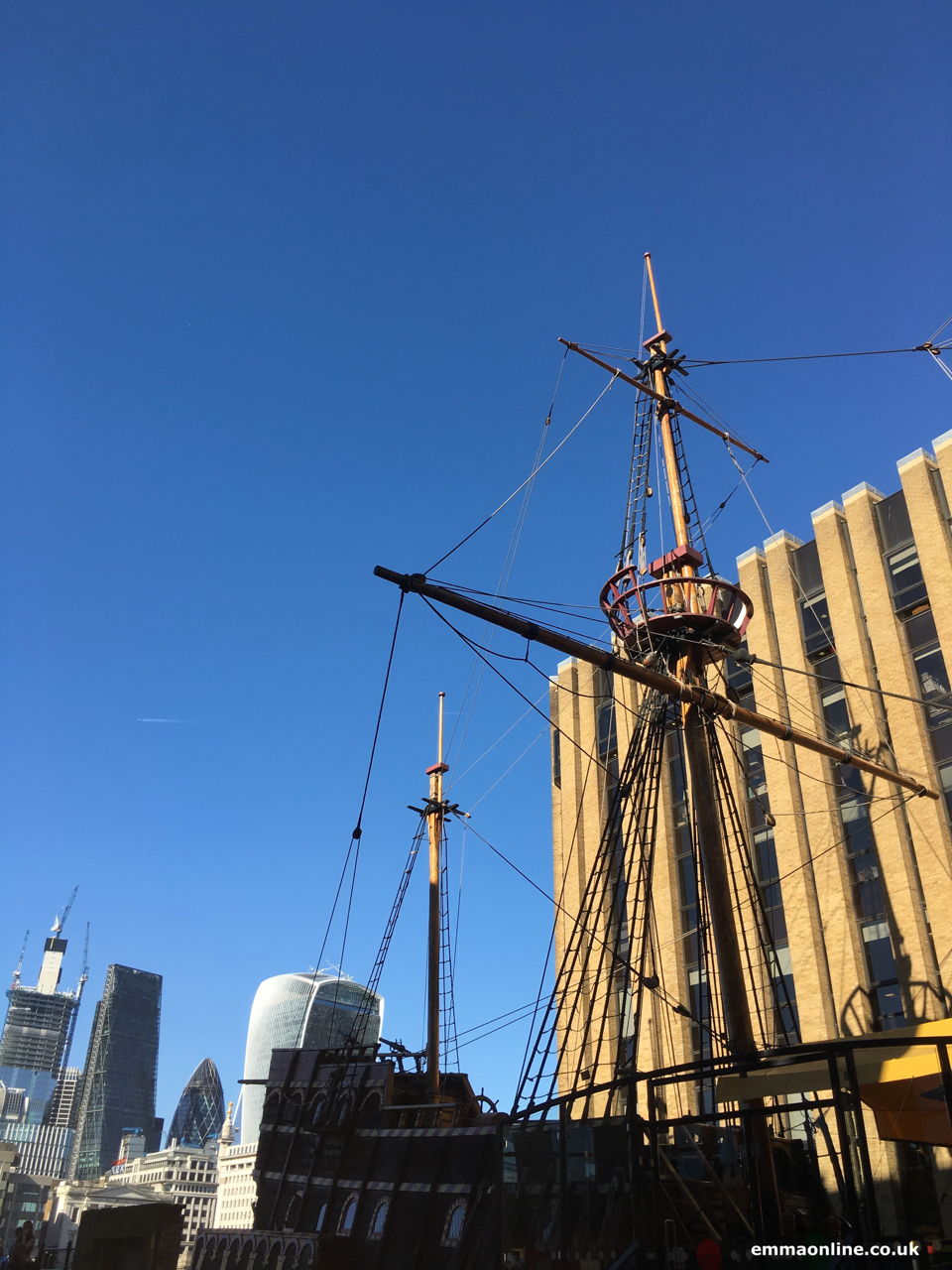 The Golden Hinde, a replica of the ship Sir Francis Drake captained around the globe