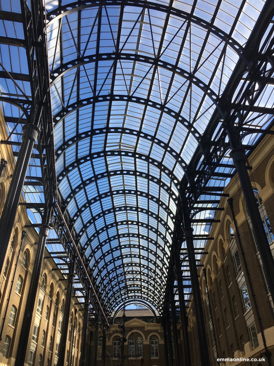 Looking up at the ceiling of the Hay's Galleria