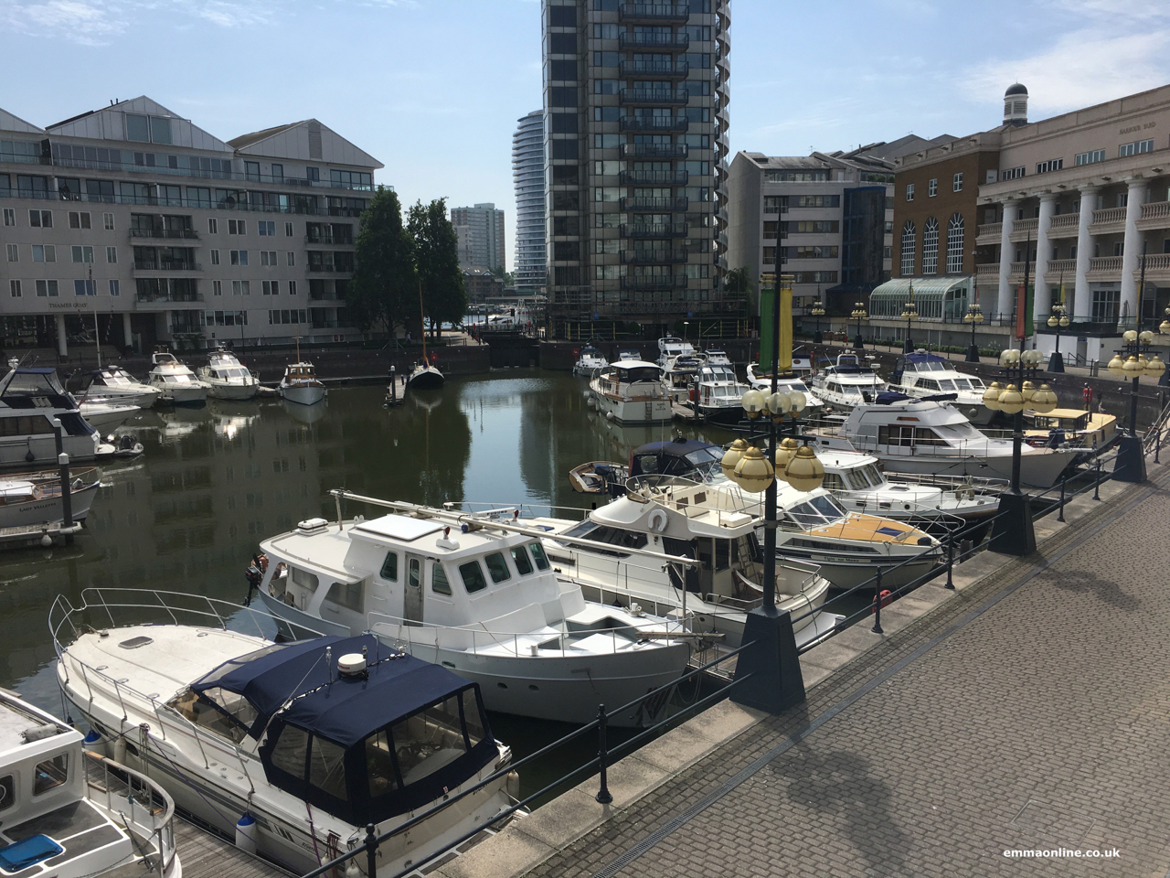 View of the yachts from the Chelsea Harbour Hotel