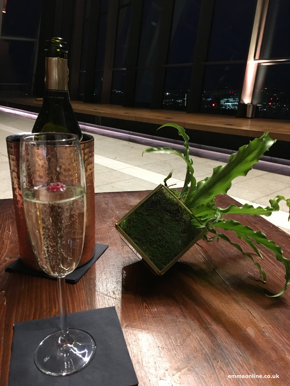 Drink on table at the Sky Garden