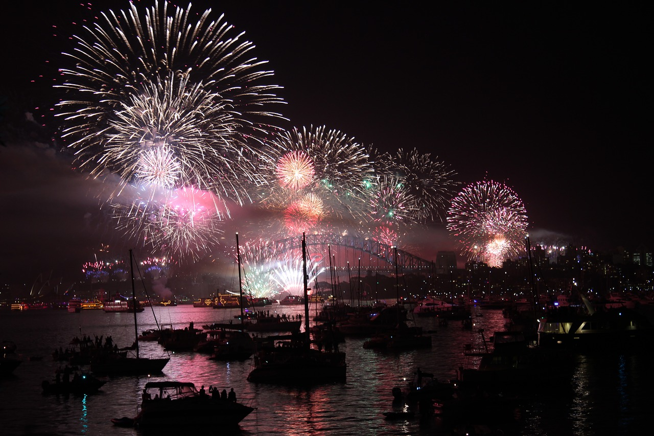 Fireworks exploding over Sydney Harbour as part of the new year eve celebrations