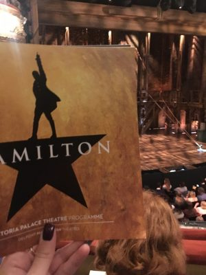 Hamilton Programme and view of stage - one of the best musicals in London