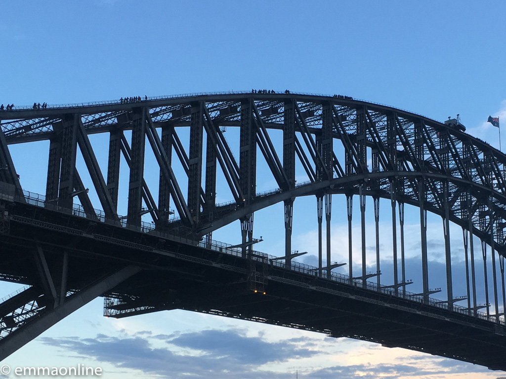 People on top of the Sydney Harbour Bridge as part of the bridge climb experience.