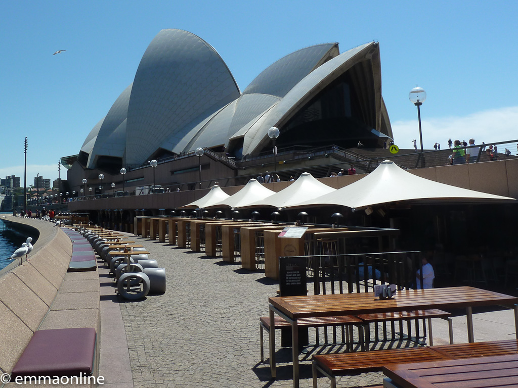View of the Sydney Opera House from the bar running alongside the building