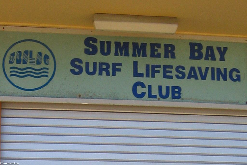 Sign of the fictional Summer Bay Surf Lifesaving Club from TV series Home and Away