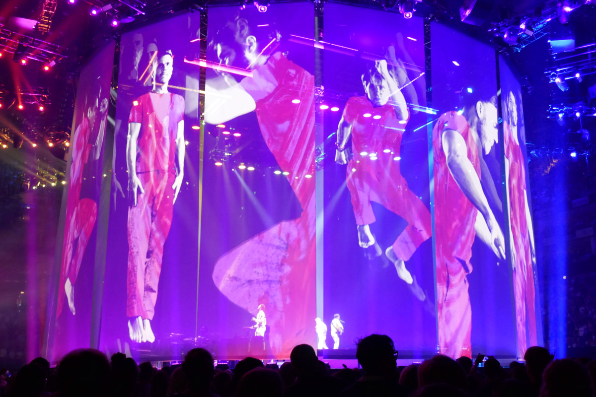 Take That on stage as part the Wonderland tour