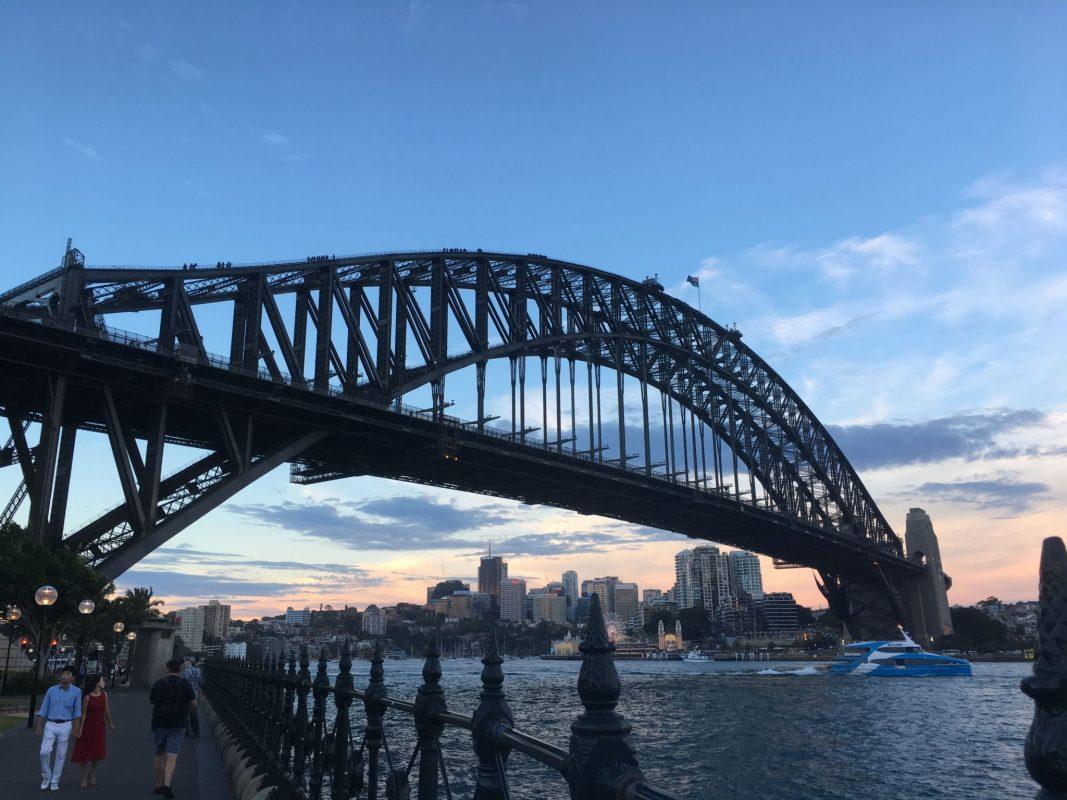 Close up view of the Sydney Harbour Bridge.