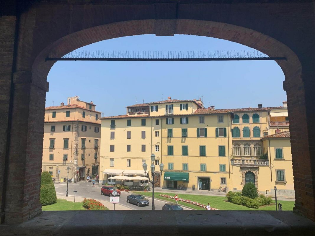 Looking out at a road and buildings from Lucca's city wall