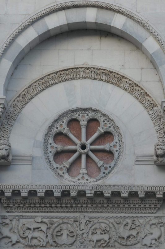 Up close detail of the facade of Chiesa di San Michele in Foro