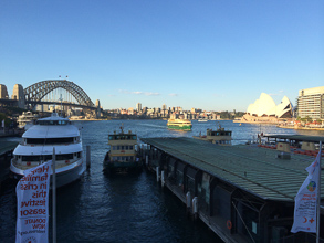 View looking out Circular Quay. Sydney Harbour Bridge and Opera House in background